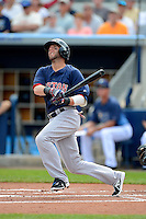 Boston Red Sox second baseman Dustin Pedroia #15 hits a home run during a Grapefruit League Spring Training game against the Tampa Bay Rays at Charlotte County Sports Park on February 25, 2013 in Port Charlotte, Florida.  Tampa Bay defeated Boston 6-3.  (Mike Janes/Four Seam Images)