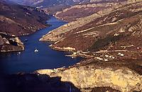 France. Lac de Castillon. Hydro-electric dam and reservoir. Barrage de Castillon-Demandolx. Alpes de Haute Provence..
