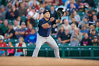 Scranton/Wilkes-Barre RailRiders first baseman Ji-Man Choi (36) catches a throw for the force out during the first game of a doubleheader against the Rochester Red Wings on August 23, 2017 at Frontier Field in Rochester, New York.  Rochester defeated Scranton 5-4 in a game that was originally started on August 22nd but was was postponed due to inclement weather.  (Mike Janes/Four Seam Images)