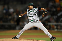 Pitcher Yordy Cabrera (28) of the Augusta GreenJackets delivers a pitch in a game against the Columbia Fireflies on Saturday, July 29, 2017, at Spirit Communications Park in Columbia, South Carolina. Columbia won, 3-0. (Tom Priddy/Four Seam Images)