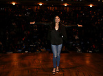 """Lauren Boyd during the Q & A before The Rockefeller Foundation and The Gilder Lehrman Institute of American History sponsored High School student #EduHam matinee performance of """"Hamilton"""" at the Richard Rodgers Theatre on 4/03/2019 in New York City."""