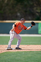 Baltimore Orioles Drew Turbin (47) waits to receive a throw during a minor league Spring Training game against the Tampa Bay Rays on March 29, 2017 at the Buck O'Neil Baseball Complex in Sarasota, Florida.  (Mike Janes/Four Seam Images)