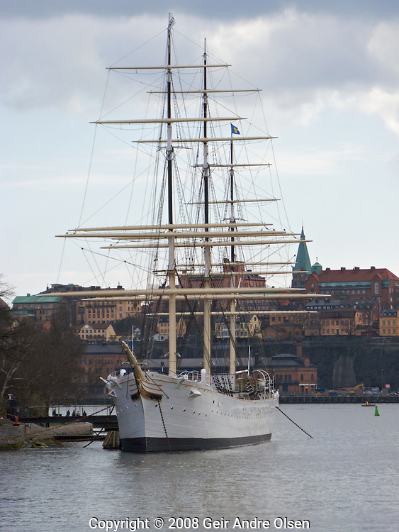 Skeppsholmen, an small island in Stockholms harbor with an old sailing ship named Chapman which is now used as a youth hostel in Sweden.