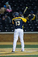 Nick Kanavas (13) of the Kent State Golden Flashes at bat against the Wake Forest Demon Deacons in game two of a double-header at David F. Couch Ballpark on March 4, 2017 in  Winston-Salem, North Carolina.  The Demon Deacons defeated the Golden Flashes 5-0.  (Brian Westerholt/Four Seam Images)