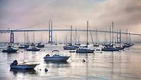 The Newport Bridge towers shrouded in fog