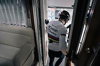 CX world champion Wout Van Aert (BEL/Crelan-Charles) leaving his camper van, ready to race<br /> <br /> Super Prestige Ruddervoorde / Belgium 2017