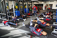 Players exercise in the gym during the Swansea City Training at The Fairwood Training Ground, Swansea, Wales, UK. Thursday 15 February 2018