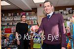 Donald Grogan with his wife Dearbhla, Grogan's Pharmacy, Dingle.
