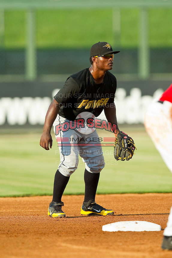 West Virginia Power second baseman Dilson Herrera (31) on defense against the Kannapolis Intimidators at CMC-Northeast Stadium on July 9, 2013 in Kannapolis, North Carolina.  The Power defeated the Intimidators 3-1.   (Brian Westerholt/Four Seam Images)