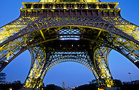 France, Paris, The Eiffel Tower illuminated at night