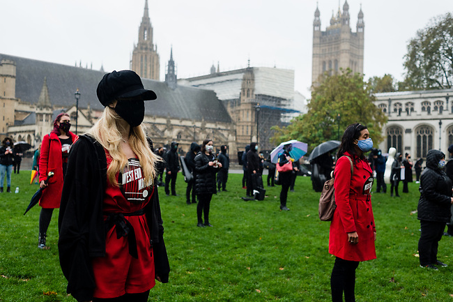 """West End Waiting (WEW) are creating """"Singing Flash Mob"""" at midday at Parliament Square on October 31, 2020 in London, United Kingdom. The idea was born as a direct result of Lee's passion for the industry which generates some £5.6billion a year in the UK, is in decline through lack of Government support in recent months due to the COVID-19 Pandemic. <br /> Photo: AMMP/Maciek Musialek"""