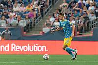 FOXBOROUGH, MA - AUGUST 8: Jack Elliott #3 of Philadelphia Union brings the ball forward during a game between Philadelphia Union and New England Revolution at Gillette Stadium on August 8, 2021 in Foxborough, Massachusetts.