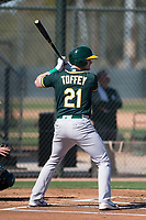 Oakland Athletics infielder Will Toffey (21) during Spring Training Camp on February 24, 2018 at Lew Wolff Training Complex in Mesa, Arizona. (Zachary Lucy/Four Seam Images)