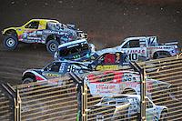 Dec. 10, 2011; Chandler, AZ, USA;  LOORRS pro 2 unlimited driver Jeremy McGrath (2) gets sideways and hit  by Carl Renezeder (17) during round 15 at Firebird International Raceway. Mandatory Credit: Mark J. Rebilas-