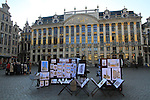 Artist's drawings in the Grand Place (town square) in the morning in downtown Brussels, Belgium.