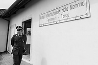 """Ferramonti di Tarsia (Cosenza, Calabria – Italy), 25/04/2019. Today, to mark the 74th Anniversary of the Italian Liberation from nazi-fascism ('Liberazione'), a memorial was held at the Concentration Camp of Ferramonti di Tarsia (aka Internierungslager Ferramonti di Tarsia). At the end of a series of events a public meeting took place attended by members of the public, experts, and politicians – including the Mayor of Tarsia and the President of Calabria's Region.<br /> The [often forgotten*] Calabrian """"internment"""" camp was the largest of the fifteen camps built in Italy by the fascist regime of Benito Mussolini between June and September 1940. Their purpose was to confine Jewish, Roma and Sinti, homosexual and disable people, political dissidents and other ethnic minorities. <br /> The Ferramonti's camp was located in a malaria-plagued piece of land. It had 92 barracks where families were kept together and children attended school. The camp was operational from June 1940 and September 1943 and """"there were 3,823 Jewish internees at Ferramonti, of which only 141 were Italian. The majority, 3,682 people, were foreign-born"""" (1.). The Ministry of the Interior appointed the police officer Paolo Salvatore (1899-1980) as camp director. The camp was freed by the British Army in September 1943, but many of the former prisoners stayed in it for the next two years, until the camp was officially closed on the 11th December 1945.   <br /> ...<br /> ** For the full caption please read the Article at the beginning of this story<br /> <br /> Footnotes and Links <br /> 1. http://bit.do/eQZz3 (ENG - Wikipedia.org)<br /> 2. http://bit.do/eQZNd (Article by Primo Levi Center New York)<br /> http://www.museoferramonti.org/<br /> https://www.campodiferramonti.it<br /> http://bit.do/eQZmw (HBW - Wikipedia Israel)<br /> http://bit.do/eQZbp (ITA - Wikipedia Italy)<br /> http://bit.do/eQZVk (ENG - Examinerlive.co.uk) - """"Daughter's emotional visit to Ferramonti concentration camp where her fat"""