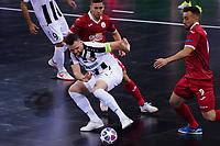 9th October 2020; Palau Blaugrana, Barcelona, Catalonia, Spain; UEFA Futsal Champions League Finals; Mrucia FS versus MFK Tyumen; Sergei Abramovich of Tyumen shields the ball to keep possession