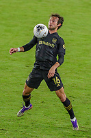 22nd December 2020, Orlando, Florida, USA;  LAFC Daniel Musovski stops the ball during the Concacaf Championship between LAFC and Tigres UANL on December 22, 2020, at Exploria Stadium in Orlando, FL.
