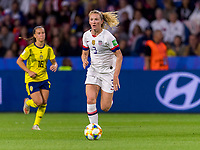 LE HAVRE,  - JUNE 20: Sam Mewis #3 dribbles during a game between Sweden and USWNT at Stade Oceane on June 20, 2019 in Le Havre, France.