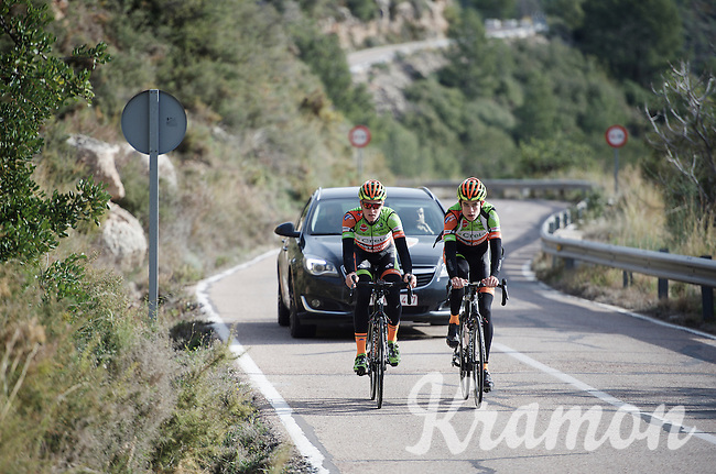 Just after he won the national championship, Wout Van Aert (BEL/Crelan-Vastgoedservice) & Tim Merlier (BEL/Crelan-VastgoedService) left for a training block in Spain. As they're training up Coll de Rates (Alicante, Spain), Van Aert's national jersey wasn't even finished yet, so he trained in his regular team kit.<br /> <br /> January 2016 Training Camps