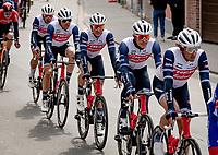 Team Trek-Segafredo around team leader Jasper Stuyven (BEL/Trek-Segafredo) rolling through town<br /> <br /> 61st Brabantse Pijl 2021 (1.Pro)<br /> 1 day race from Leuven to Overijse (BEL/202km)<br /> <br /> ©kramon