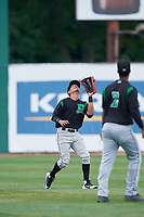 Dayton Dragons center fielder Lorenzo Cedrola (27) settles under a fly ball during a game against the Beloit Snappers on July 22, 2018 at Pohlman Field in Beloit, Wisconsin.  Dayton defeated Beloit 2-1.  (Mike Janes/Four Seam Images)