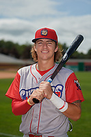 Williamsport Crosscutters Bryson Stott (15) poses for a photo after a NY-Penn League game against the Batavia Muckdogs on August 27, 2019 at Dwyer Stadium in Batavia, New York.  Williamsport defeated Batavia 11-4.  (Mike Janes/Four Seam Images)