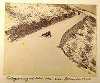 BNPS.co.uk (01202) 558833<br /> Pic: Charles Miller/BNPS<br /> <br /> A daredevil tobogganing picture from 1900 shows the navy relaxing away from combat<br /> <br /> A fascinating photo album compiled by a British naval officer on tour in the Far East at the turn of the 20th century has come to light.<br /> <br /> Taprell Dorling served on the HMS Terrible in 1900 at the start of an over 30 year career at sea.<br /> <br /> The album, containing 74 photos, has emerged for sale with auctioneers Charles Miller, of London, with an estimate of £3,000.