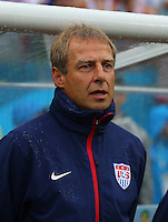 USA coach Juergen Klinsmann during the national anthems before kick off, he sang both the USA and Germany anthem