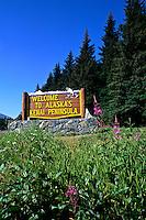 Welcome Sign at Kenai Peninsula Alaska USA