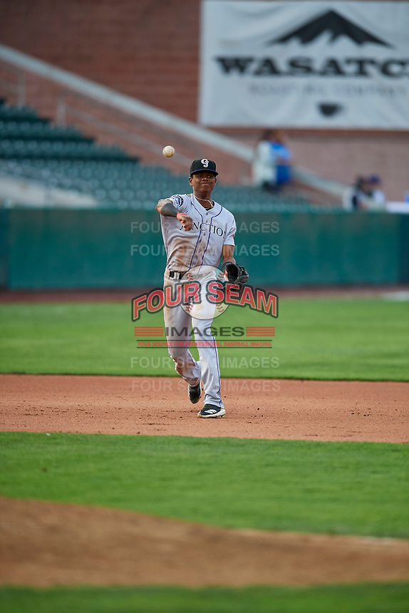 Julio Carreras (2) third baseman of the Grand Junction Rockies during the game against the Ogden Raptors at Lindquist Field on September 9, 2019 in Ogden, Utah. The Raptors defeated the Rockies 6-5. (Stephen Smith/Four Seam Images)
