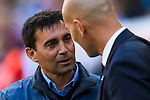 Head coach Asier Garitano (l) of Deportivo Leganes talks to Real Madrid's coach Zinedine Zidane prior to the La Liga match between Real Madrid and Deportivo Leganes at the Estadio Santiago Bernabéu on 06 November 2016 in Madrid, Spain. Photo by Diego Gonzalez Souto / Power Sport Images