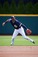 Columbus Clippers shortstop Erik Gonzalez (11) during a game against the Lehigh Valley IronPigs on May 12, 2016 at Huntington Park in Columbus, Ohio.  Lehigh Valley defeated Columbus 2-1.  (Mike Janes/Four Seam Images)