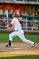 Alex Abbott (10) of the Orem Owlz at bat against the Billings Mustangs in Pioneer League action at Home of the Owlz on July 25, 2016 in Orem, Utah. Orem defeated Billings 6-5. (Stephen Smith/Four Seam Images)