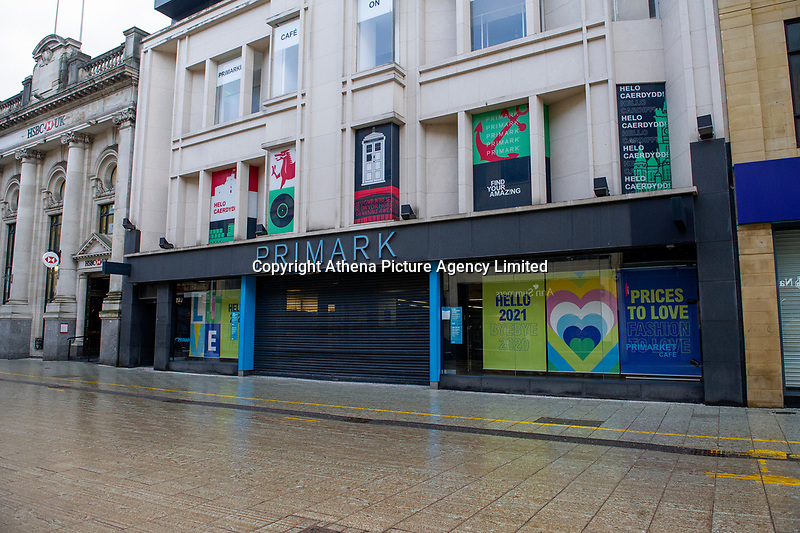 Pictured: Primark on Queen Street is closed in Cardiff, Wales, UK. Friday 8th January 2021<br /> Re: The whole of Wales in in Tier 4 due to rising Covid-19 Coronavirus cases, Cardiff, Wales, UK.