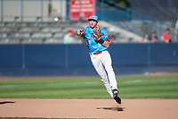 Spokane Indians shortstop Jax Biggers (1) throws to first base during a Northwest League game against the Vancouver Canadians at Avista Stadium on September 2, 2018 in Spokane, Washington. The Spokane Indians defeated the Vancouver Canadians by a score of 3-1. (Zachary Lucy/Four Seam Images)