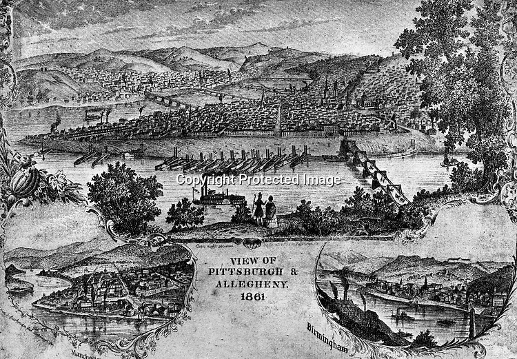 1861-Rendering of the City of Pittsburgh and Allegheny in 1861 from Mt Washington