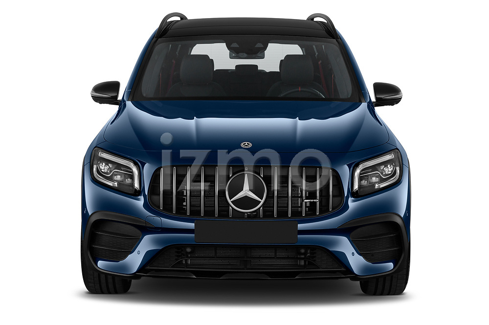 Car photography straight front view of a 2021 Mercedes Benz GLB AMG-35 5 Door SUV Front View