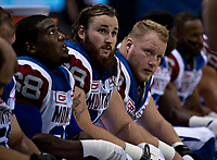 Vancouver, September, 09, 2016 - The The Montreal Alouettes'  linemen [L-R]Philip Blake, Jacob Ruby and Luc Brodeur-Jourdain take a breather during the game. The Montreal Alouettes lost to the BC Lions 27-38. (Andrew Soong)