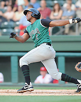 Shortstop Sharlon Schoop (2) of the Augusta GreenJackets, Class A affiliate of the San Francisco Giants, in a game against the Greenville Drive on May 20, 2010, at Fluor Field at the West End in Greenville, S.C. Photo by: Tom Priddy/Four Seam Images
