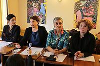 APRES LA DECISION DE JUSTICE METTANT HORS DE CAUSE DENIS BAUPIN, LES QUATRE FEMMES QUI ONT PORTE PLAINTE CONTRE LUI POUR HARCELEMENT SEXUEL ONT DONNE UNE CONFERENCE DE PRESE. DE GAUCHE ¿ DROITE : SANDRINE ROUSSEAU, ISABELLE ATTARD, ANNIE LAHMER, ELEN DEBOST.