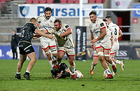 26 February 2021; Andrew Warwick is tackled by Sam Cross and Kieran Williams during the Guinness PRO14 match between Ulster and Ospreys at Kingspan Stadium in Belfast. Photo by John Dickson/Dicksondigital