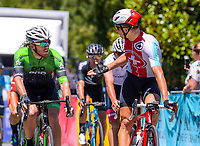 Shane Archbold (EvoPro racing, 2nd) and Stefan Bissenger (Swiss National team, 1st) at the end of Stage Two - Hydro Heat (Cambridge -Roto o rangi - Pukeatea). 2019 Grassroots Trust NZ Cycle Classic UCI 2.2 Tour from St Peter's School in Cambridge, New Zealand on Thursday, 24 January 2019. Photo: Dave Lintott / lintottphoto.co.nz