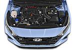 Car Stock 2021 Hyundai i20 N-Performance 5 Door Hatchback Engine  high angle detail view