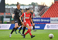 Michelle Colson (2) of Anderlecht pictured defending on Noemie Gelders (10) of Standard during a female soccer game between Standard Femina de Liege and RSC Anderlecht on the 8th matchday in play off 1 of the 2020 - 2021 season of Belgian Scooore Womens Super League , tuesday 18 th of May 2021  in Angleur , Belgium . PHOTO SPORTPIX.BE | SPP | DAVID CATRY