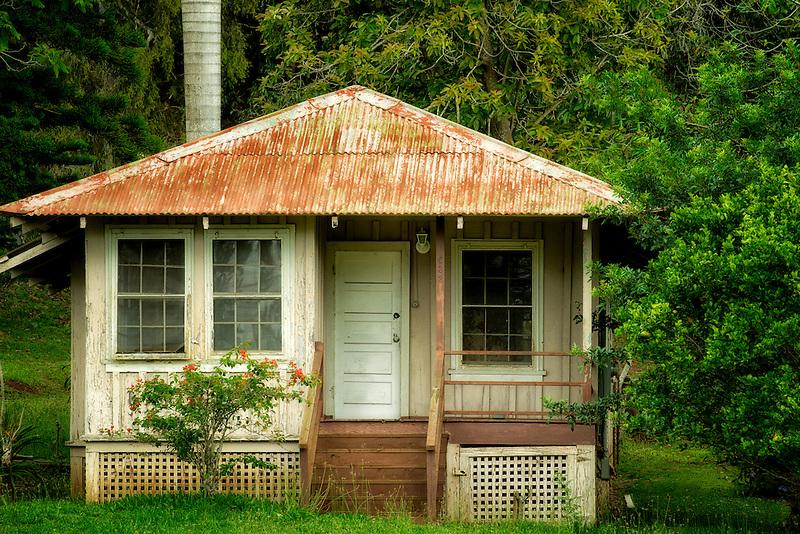 Old abandoned house in Lanai City, Lanai, Hawaii.