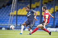 Kasaiah Sterling, Southend United plays the ball across field under pressure from Rory McArdle of Exeter City during Southend United vs Exeter City, Sky Bet EFL League 2 Football at Roots Hall on 10th October 2020