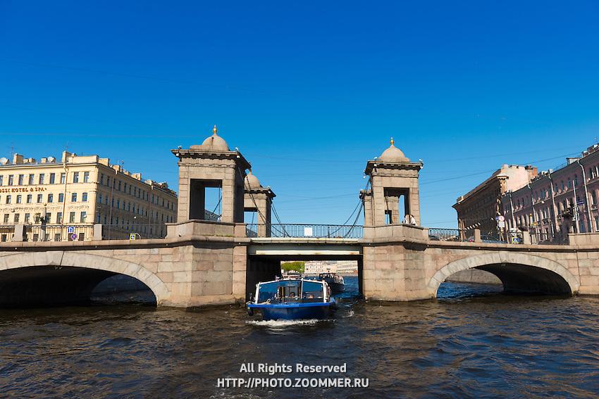 Tour Boat Under Lomonosov Bridge In Fontanka River, St Petersburg