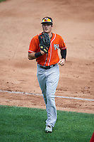 Norfolk Tides center fielder Mike Yastrzemski (3) jogs to the dugout during a game against the Rochester Red Wings on July 17, 2016 at Frontier Field in Rochester, New York.  Rochester defeated Norfolk 3-2.  (Mike Janes/Four Seam Images)
