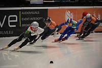 SPEEDSKATING: DORDRECHT: 06-03-2021, ISU World Short Track Speedskating Championships, SF 500m Men, Dylan Hoogerwerf (NED), Pietro Sighel (ITA), ©photo Martin de Jong
